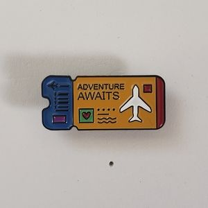 🐢2/$15 Adventure Awaits Airplane Ticket Pin